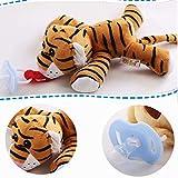 Tomasa Stofftier Spielzeug- Baby Schnuller mit Plüsch Puppe Spielzeug Abnehmbare Silikon Nippel Schnullerpuppe (Tiger)