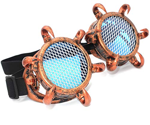MFAZ Morefaz Ltd Cyber De Soleil des Lunettes de Soudage Welding Goggles LED Steampunk Antique Cosplay Sunglasses Round Glasses Party Fancy Dress (Spikes Copper Grid)