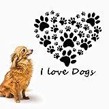 mlpnko Cute Dog Footprints Paw Wall Stickers I Love Dog Text Decals Vinilo decoración del hogar diseño de Interiores Pet Shop Window Decals Mural 43x42cm