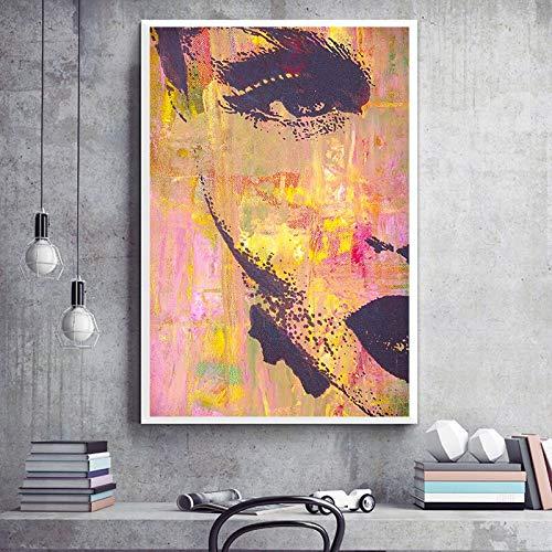 Abstracte figuur gezicht muurschildering mode meisje canvas afdrukken kunst voor woonkamerdecoratieve schilderijen geen frame50x75cm No frame