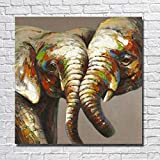 FBXLP Decoración Hecho A Mano Óleo Sobre Lienzo Amante De Los Animales 2 Elefantes Cuadros De Pared Para Sala De Estar Decoración Del Hogar Sin Marco
