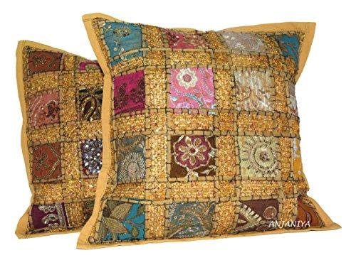 ANJANIYA 2 fundas de cojín con lentejuelas bordadas de 40,6 x 40,6 cm, estilo indio, bohemio, bohemio, fundas de almohada de algodón bordadas a mano (Khaki)