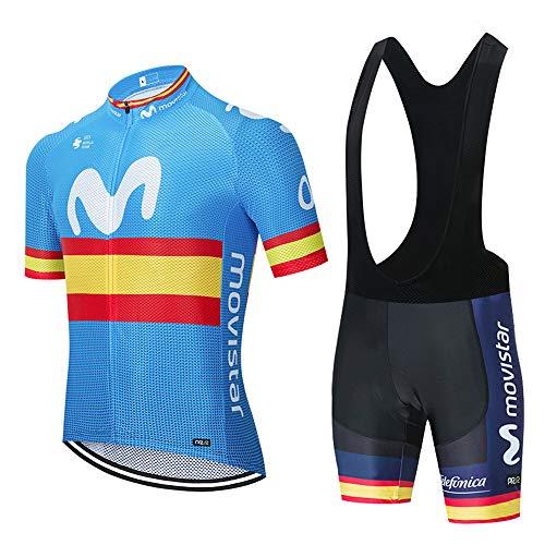 Ciclismo Hombres Jersey + Pantalones Cortos Mangas Cortas de Ciclismo Conjunto de Ropa Maillot Transpirable para Deportes al Aire Libre Ciclo Bicicleta