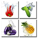 Fresh Vegetables Canvas Wall Art Colorful Various Fruits Cucumber Eggplant Pineapple Pimento Food Picture Artwork Modern Kitchen Livingroom Decor 12'X12'X4 Panels stretched and Framed Ready to Hang