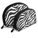Borsa con cerniera da toilette, organizer da viaggio per trucco e pochette Zebra a strisce portatili