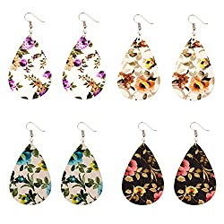 Leather earrings in gorgeous floral print. Blue flowers, purple flowers, yellow flowers, red flowers, and pink flowers on black or white backgrounds.