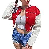 Chaqueta de bombardero de mujer Y2k con botones de manga larga Chaquetas de béisbol casual ligera recortada chaqueta abrigo abrigo, Rojo B, S