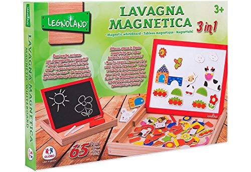 Legnoland- Lavagna Legno Magnetica con Magneti e Gessi, 65 Pezzi, 37764