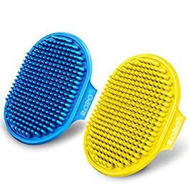 CWXZSTM Dog Grooming Brush, Pet Shampoo Bath Brush Soothing Massage Rubber Comb with Adjustable Ring Handle for Long Short Haired Dogs and Cats 2pcs