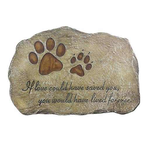 NAAG Pfote druckt Hund Haustier Gedenkstein, Haustier Garten Stein Grab Marker für Hund oder Katze, handbemalt Haustier Memorial Geschenk innen oder außen, 11