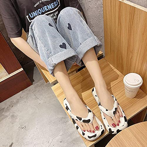 xinghui Chanclas para Mujer Zapatos Gruesos Muffin Bottom Sand-Dramatic Drag Zapatos de Mujer afuera Zapatillas de Barrido-Lácteos_36