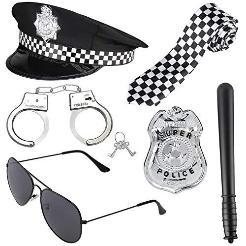 Haichen Politie-kostuum Accessoire-set Politiehoed Handboeien Zonnebrillen Badge Wapenstok Halloween-politieagent Detective Rollenspel Accessoires voor agent Swat FBI-kostuum Aankleden (Zwart1)