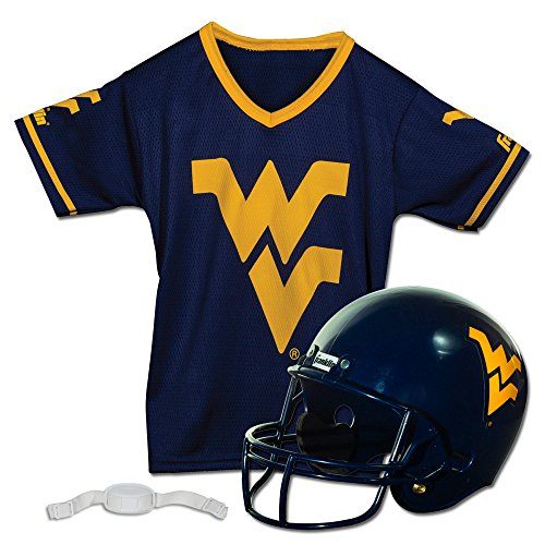 Franklin Sports West Virginia Mountaineers Kids College Football Uniform Set - NCAA Youth Football Uniform Costume - Helmet, Jersey, Chinstrap - Youth M