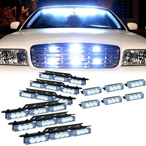 White 54X LED Deck Dash Visor Warning Strobe Light - Interior Flashing Strobe Lights for Emergency Vehicles Truck Cars