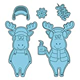 Merry Christmas Moose Clear Stamps with Cutting Dies Set for DIY Scrapbooking Embossing Stencil Die-cuts for Card Making Template Rubber Stamps Paper Crafts Handmade Craft Photo Album Decor