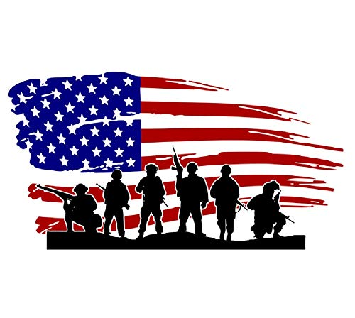 Amaonm Removable Vinyl American Flag and Soldier Wall Decal USA Flag Wall Stickers Peel Stick Art Decor for Classroom Kids Bedroom Teens Nursery Living Room Playroom Offices Wall Decoration (Flag)