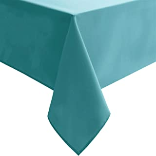 Homedocr Rectangle Tablecloth Turquoise - 54 x 108 inch - Stain Resistant, Washable and Spillproof Oblong Polyester Table Cloth for Holiday Dinner, Kitchen and Dining