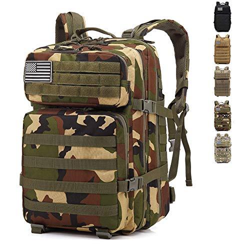 BBYaki 40L Militaire Assaut Camouflage Sac Dos, Molle Sac Dos Tactique Alpinisme Sac À Dos Randonnée Activités en Plein Air Camping,CP