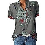 Andouy Damen Blusen Tops für die Arbeit Oversized Boho Drucken Taste Shirt Leicht Stehkragen Sweatshirt Mit Tasche(XL.Grau)
