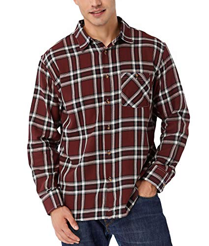 TAPULCO Regular-Fit Long-Sleeve Plaid Gingham Shirts for Men, Classic Checked Pattern Button-Down Shirt Soft and Cozy Office Work Shirt Burgundy Medium