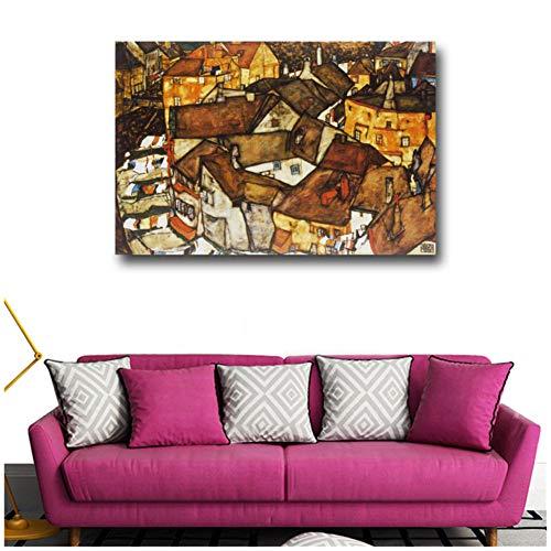 sjkkad Oostenrijks gebouw Expressionisme Egon Spoor Poster Print Impressionist Wandkunst Canvas Schilderij Landschap Afbeelding Decoratie -60x90cm Geen lijst