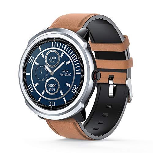 Smart Watch, IP68 impermeabile Fitness Tracker Watch con cardiofrequenzimetro Contapassi Orologio sportivo per uomini e donne, Smartwatch da corsa con SMS di notifica per iPhone Android (Brown)