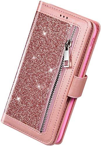 Herbests Kompatibel mit Samsung Galaxy A51 Handyhülle Handytasche mit 9 Kartenfächer Handschlaufe Leder Hülle Reißverschluss Magnet Luxus Bling Glänzend Multifunktions Flip Case,Rose Gold