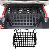 BESTAOO Pet Net Vehicle Safety Mesh Dog Barrier for Jeep Wrangler JK JL 4-Door 2007-2021, Fits Behind Rear Seat, Suitable for Medium, Large Pets, Easy to Install