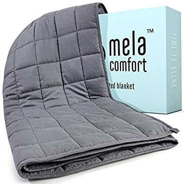 Weighted Blanket - 15LBS - Adult Queen Size - Helps Maximise Relaxation & Reduce Stress - Ideal for Calming Anxiety & Insomnia - By Mela Comfort