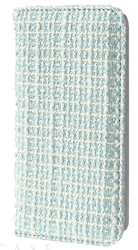 [iPhone6/6s スマホ ケース] 手帳型 カードポケット スタンド機能 付き アイフォン カバー (ツイード/ライトブルー)