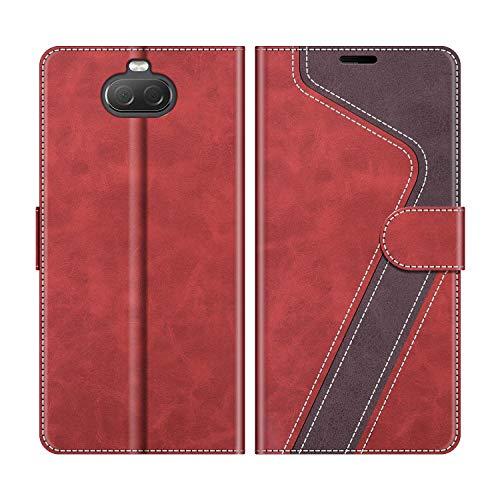 MOBESV Handyhülle für Sony Xperia 10 Hülle Leder, Sony Xperia 10 Klapphülle Handytasche Hülle für Sony Xperia 10 Handy Hüllen, Modisch Rot