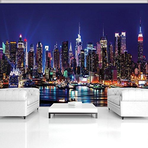 DekoShop Fototapete Vlies Tapete Moderne Wanddeko Wandtapete New York bei Nacht AMD1310VEXXXL VEXXXL (416cm. x 254cm.) Stadt/städtisch