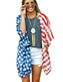 Women's American Flag Print Kimono Cover Up Tops Shirt 4th of July Parade Beachwear Loose Chiffon Blouse Cardigan flag-42 one Size
