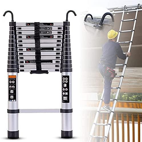 XnalLKJ Aluminio De La Escalera Telescópica con Ganchos Desmontables, Escalera Telescópica De Servicio Pesado Portátil/Escalera De Paso De Extensión, Escalera Retráctil Profesional, Capacidad De 300