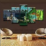 CGHBDOP Impression sur Toile 5 Parties Tableau Tableaux Ouvrages d'art Science Animée Rick Et Mort Murale Moderne Salon Décor Maison Peinture Frames