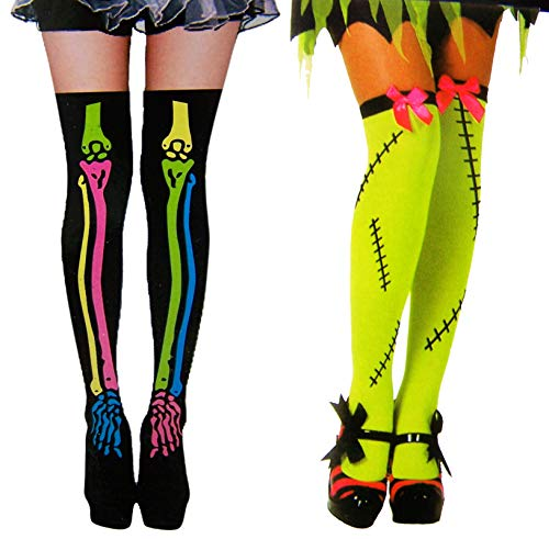 Halloween Thigh High Stockings Black Skeleton and Neon Frankenstein Costume Accessory, Pack of 2