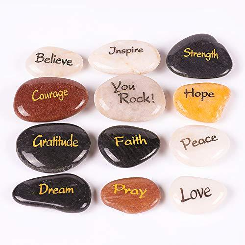 RockImpact 12 Steine mit Spruch Gravierte Steine Gravur Inspirierende Glücksbringer Ermutigung Geschenk, Verschiedene Sprüche, 5-8cm