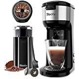 Sboly Single Serve Coffee Maker with Coffee Grinder, Small Coffee Maker Compatible with K-Cup Pod & Ground Coffee, Electric Coffee Grinder with Stainless Steel Blades for Coffee Beans