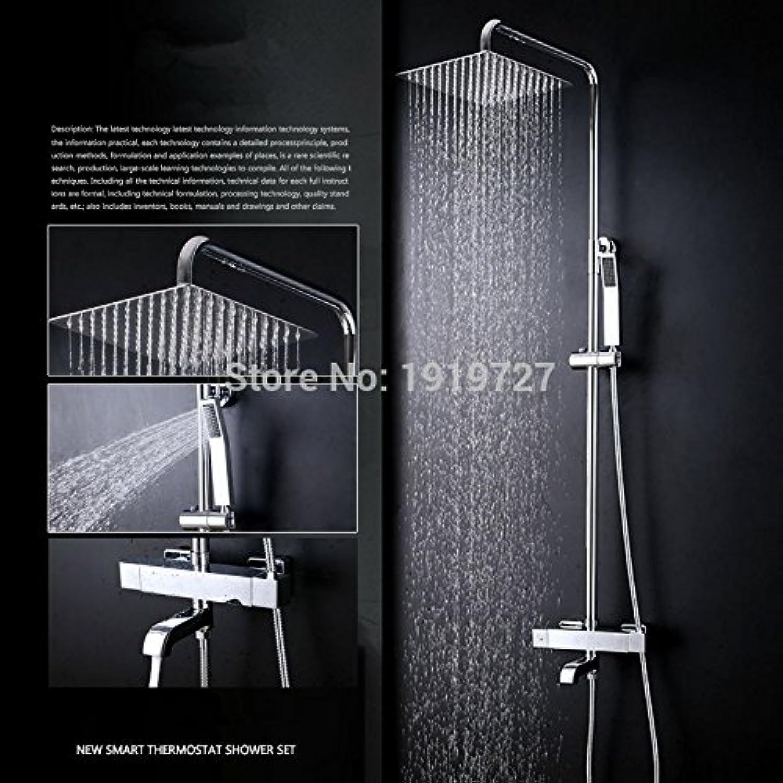100% massivem Messing Factory Direct Wandmontage Chrom quadratischen Stil Badewanne Thermostatmischer Wasserhahn Set Handbrause, hellgrau