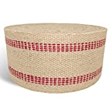 Briar Hill 3.5 Inch x 10 Yard Upholstery or Craft Jute Webbing, Natural with Red Stripes