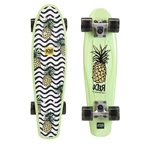 "ReDo Skateboard 22.5"" x 6"" Retro Poly Wavy Pineapple Cruiser Complete Skateboard for Boys Girls Kids Teens"