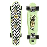 ReDo Skateboard 22.5' x 6' Retro Poly Wavy Pineapple Cruiser Complete Skateboard for Boys Girls Kids Teens