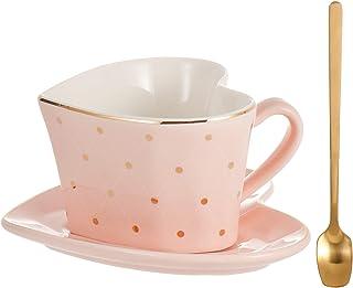 Porcelain Coffee Mug and Saucer Spoon Set, 240 ml Large Teacups,The Shape of Love, Lovers (Pink)