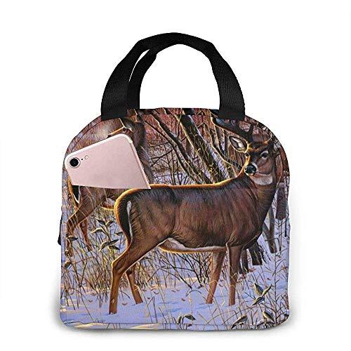 Outdoor Picknick Picknick Lunch Bag - Elch im Schnee Neopren Lunch Box Essen und Trinken stundenlang kühl oder warm halten