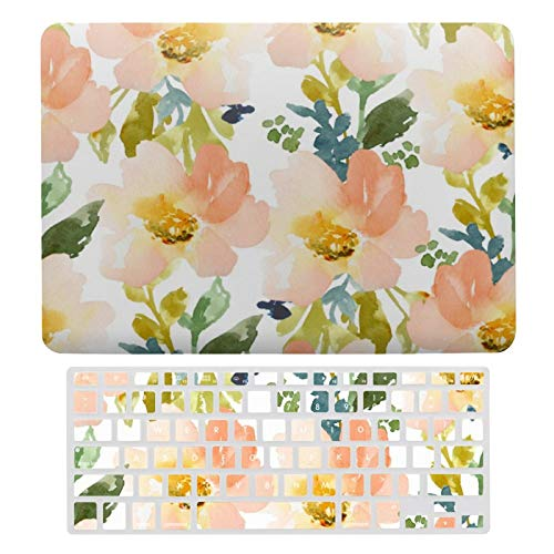MacBook Air 13 Inch Case(A1369 & A1466, Older Version 2010-2017 Release), Plastic Hard Protective Laptop Case Shell with Keyboard Cover, Cute Watercolor Floral Pattern