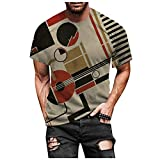 Spring Summer Men Stylish 3D Printed Graphic T-Shirts Short Sleeve Novelty Daily Casual Tees Basic Tops for Men (Gray, 3XL)
