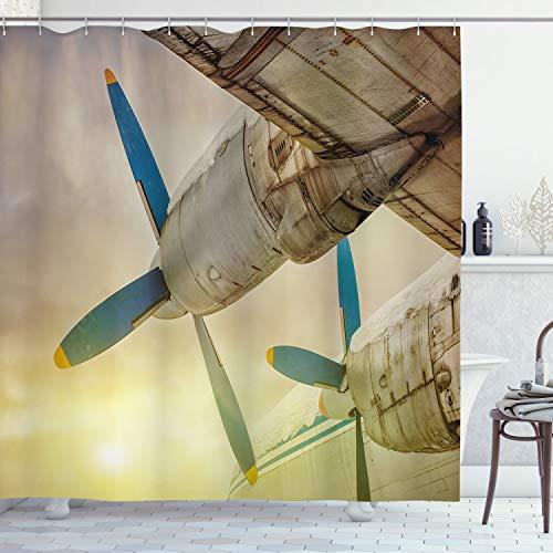 ABAKUHAUS Weinlese-Flugzeug Duschvorhang, Altes Flugzeug, Personenspezifisch Druck inkl.12 Haken Farbfest Dekorative mit Klaren Farben, 175 x 200 cm, Braun Blau Gelb
