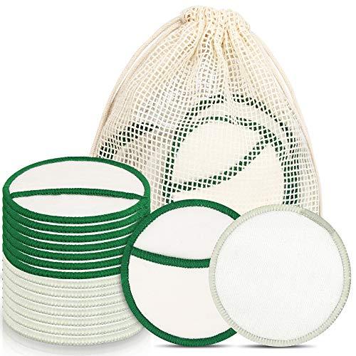 Waschbare Abschminkpads, 16 Stücks Reinigungspads Wiederverwendbare Wattepads Umweltfreundlich, Weich & Schonend Abschminktücher Make Up Entferner Pads aus Bambus & Baumwolle