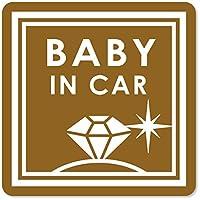 imoninn BABY in car ステッカー 【マグネットタイプ】 No.26 ダイアモンド (ゴールドメタリック)