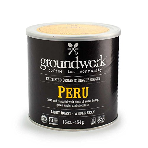 Groundwork Organic Whole Bean Light Roast Coffee, Peru, 16 oz Can (Pack of 2)